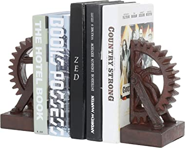 MyGift Realistic Industrial Gear-Shaped Bronze-Tone Bookends, 1 Pair