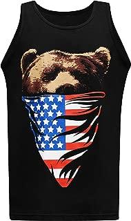 California Republic American Flag Bandana Bear Men's Muscle Tee Tank Top