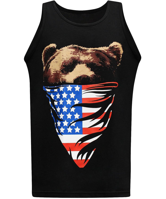 カリフォルニアアメリカ国旗バンダナベアメンズマッスルTシャツタンクトップ US サイズ: 3L