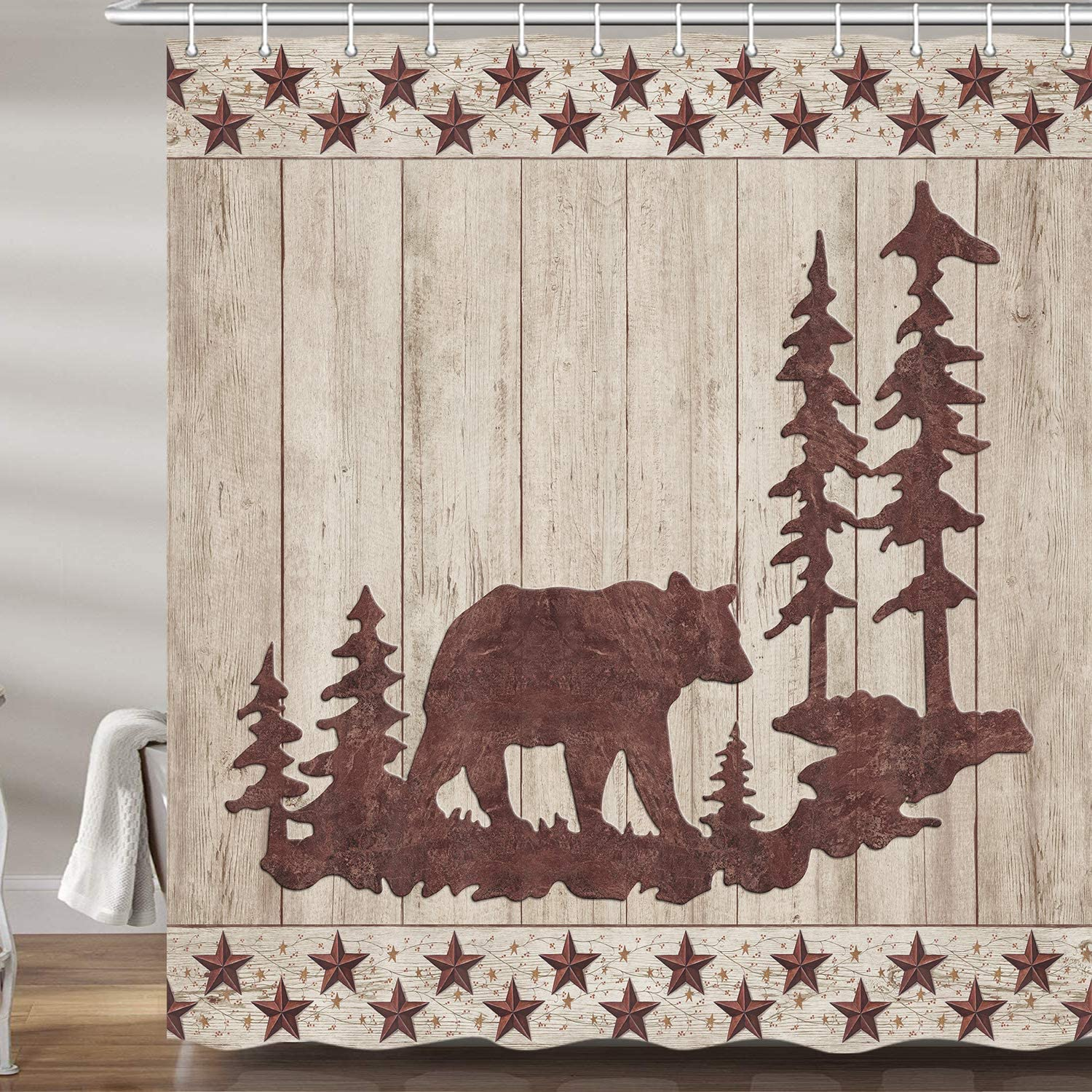 JAWO New Free Shipping Bear Shower Curtains for New Free Shipping Bathroom Animals in Forest Wild R