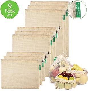 Bolsa Reutilizable Algodon de Vegetales, BHY Bolsas Reutilizables Compra, Bolsas de Malla Transpirables Adecuado para Frutas y Verduras Productos Frescos 9 Traje