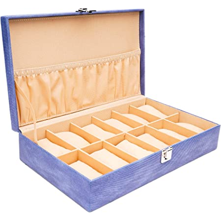 LEDO Watch Box/Watch Case/Organizer for Men and Women with 12 Slots of Watches in Blue Color
