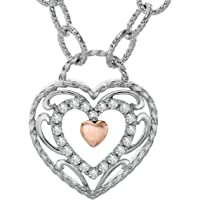Finecraft 1/5 ct Diamond Filigree Heart Necklace