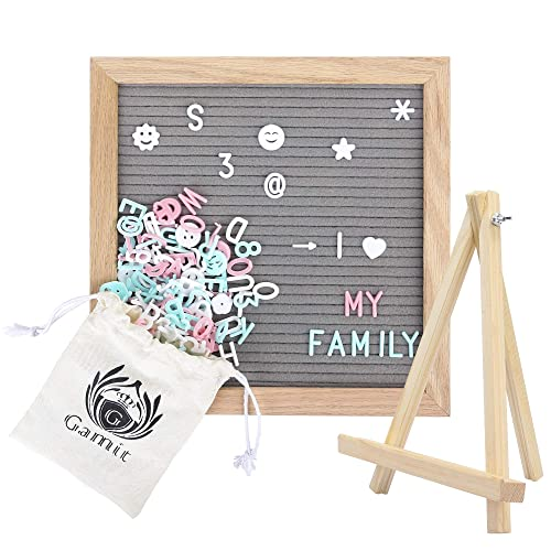 Felt Letter Board&Message Board Oak Wooden Frame 10 x 10 inches,Letter Organizer with Stand,510 White+Blue+Pink Letters and Symbols, Gray Changeable Letter Board&Word Board with Letters