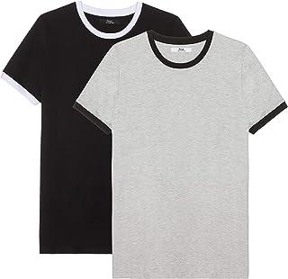 Marca Amazon - find. Camiseta Hombre, Pack de 2