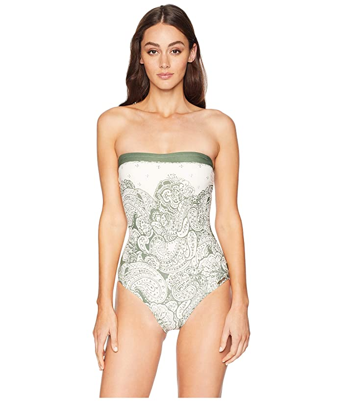 Vince Camuto Oasis Tapestry Lace Back Bandeau One-Piece (Palm) Women