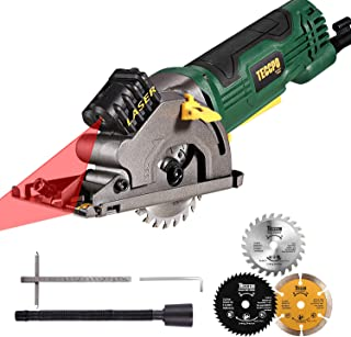"Circular Saw, TECCPO 3-3/8"" 3700 RPM Compact Mini Circular Saw with Laser Guide, 3 Saw Blades, Scale Ruler and 4.8Amp Pure..."