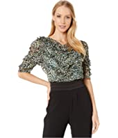 Rebecca Taylor - Short Sleeve Lynx Ruffle Top