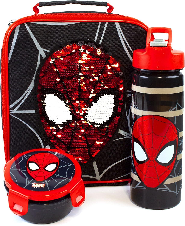 Marvel Spider Man Almuerzo Caja de almuerzo 3 pieza Set Bolso para niños, Botell Un tamaño