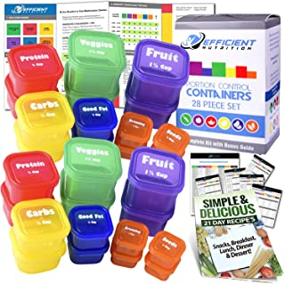 21 Day LABELED Efficient Nutrition Portion Control Containers Kit (28-Piece) + COMPLETE GUIDE + 21 DAY PLANNER + RECIPE eB...