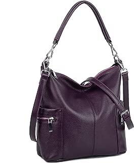 YALUXE Women's Multi Pocket Soft Cowhide Leather Medium Purse Shoulder Bag