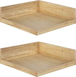 Kate and Laurel Levie Rustic Modern Floating Corner Wood Wall Shelves, 12 x 12 Inches, 2 Pack, Natural