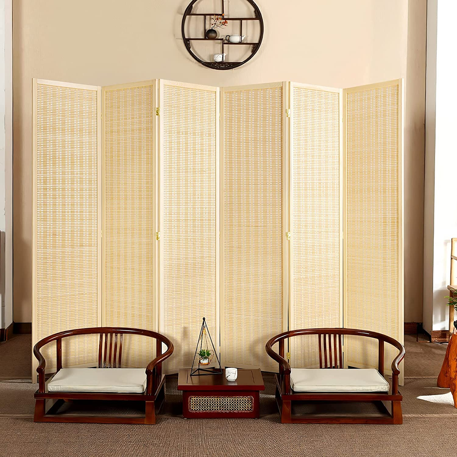 oneinmil Bamboo Room Divider 再再販 安全 Folding Part Semi-Private Portable