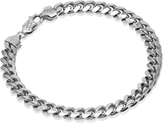 Romantico Casanova Miami Cuban Cavigliera (Argento) 7 mm Donna in Argento 925 - Made in Italy - CURB - Lunghezza: 23 cm Re...