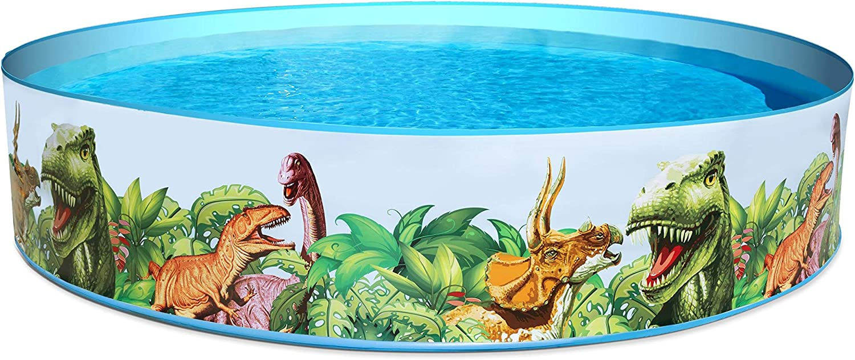 BESTWAY 55001 - Piscina Hinchable Infantil Redonda Paredes PVC Dinosaurios 244x46 cm