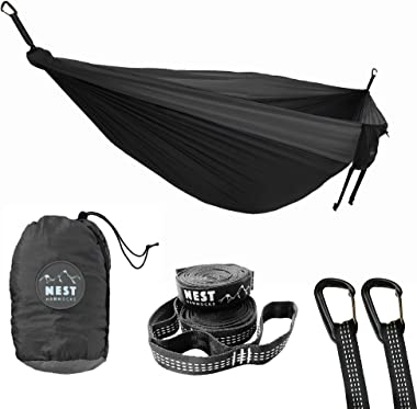 Nest Hammocks - Double Camping Hammock with Tree Straps - Two Person Camping Hammock - Sports & Outdoors (Black/Dark Grey