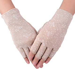 Flammi Women's UV Protection Fingerless Sun Driving Gloves Cotton Non Skid Palm