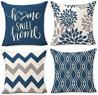 Hexagram Light Blue Geometric Pillow Covers 16x16 Set of 4,Decorative Couch Pillow Cover for Sofa,Linen Cushion Pillow Cas...