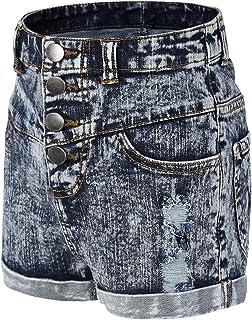 Bienzoe Girl's Adjustable Waist Holes Ripped Stretchy Denim Shorts