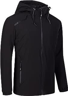 UDAREIT Womens Windbreaker Jacket Waterproof Rain Jacket Coat Hooded Active Hiking Running Coats Black L
