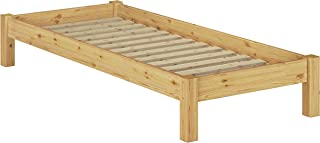 Erst-Holz Lit futon pin Massif Naturel 100x200, Design Moderne sans tête de lit y Compris sommier 60.35-10