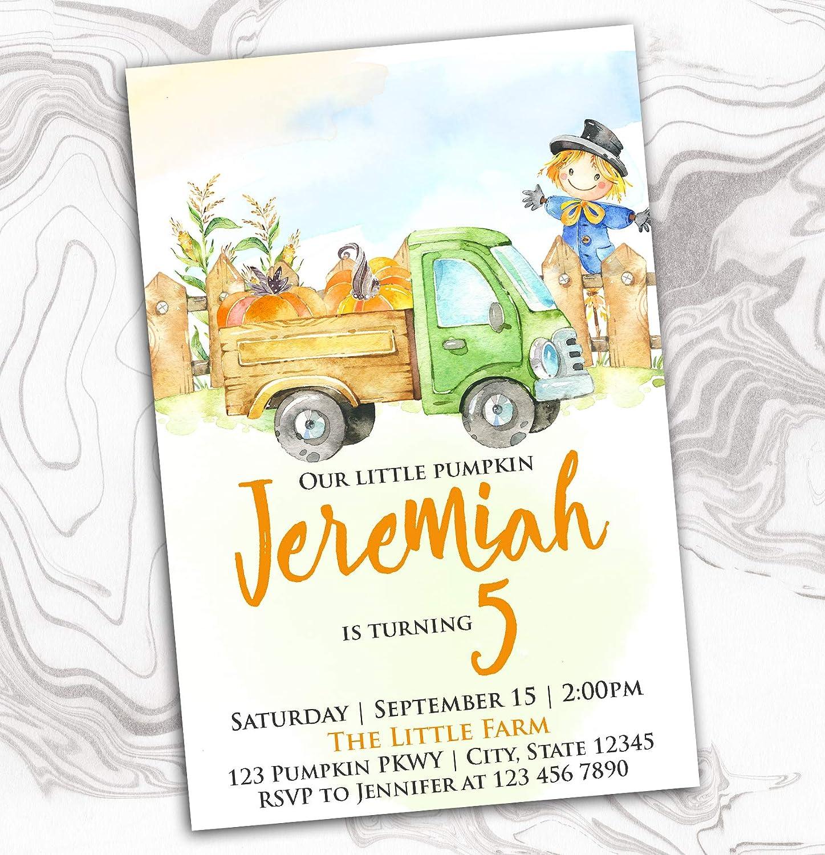 Pumpkin Birthday Invitation - Farm New life Scarecrow Charlotte Mall Truck Tractor