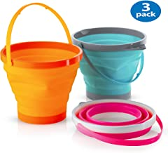 Foldable Pail Bucket Collapsible Buckets Multi Purpose for Beach, Camping Gear Water and..