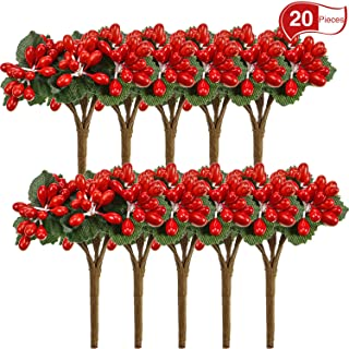 20 Packs Berry Picks Decorations Artificial Berry Picks for Christmas Flower Arrangements Wreaths and Holiday Xmas Decorations