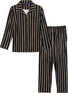 Arblove Mens Pyjama Sets Cotton Long Sleeve Loungewear Top & Bottom Men Pjs Nightwear