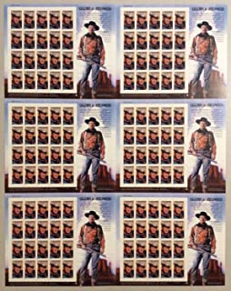 John Wayne 37 Cent Uncut Press Pane of 6 Complete Sheets of 20 Postage Stamps Each Scott 3876