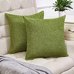 Anickal Set of 2 Green Pillow Covers Rustic Linen Decorative Square Throw Pillow Covers 20x20 Inch for Sofa Couch Decoration