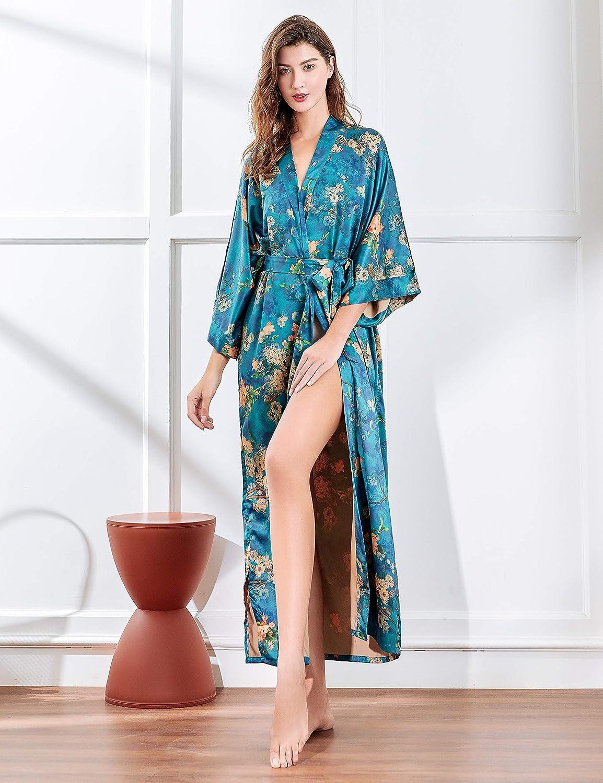 ArtiDeco Damen Morgenmantel Maxi Lang Kimono Strandkleid Blüten Gedruckt Strickjacke Kimono Bademantel Damen Lange Robe Blumen Schlafmantel Girl Pajama Party Malachitgrün