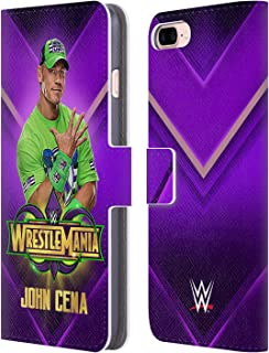 Official WWE John Cena Wrestlemania 34 Superstars Leather Book Wallet Case Cover Compatible for iPhone 7 Plus/iPhone 8 Plus