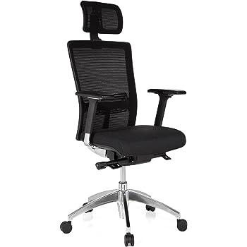 hjh OFFICE 657501 Bürostuhl Chefsessel ASTRA LUX Netzstoff schwarz, extrem stabiler Polsterstoff, hoher Sitzkomfort, Drehstuhl ergonomisch,