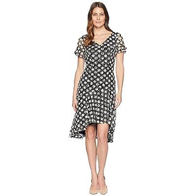 Sangria Polka Dot Short Sleeve Lace Dress (Black/Ivory) Women