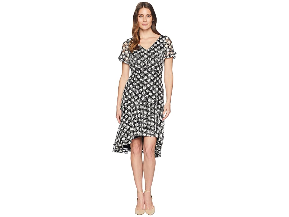Sangria Polka Dot Short Sleeve Lace Dress (Black/Ivory) Women