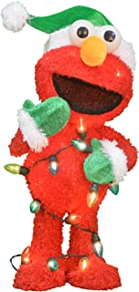 ProductWorks 24-Inch Pre-Lit 3D Sesame Street Elmo with String of Lights Christmas Yard Decoration, 35 Lights