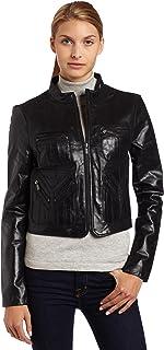 BCBGMAXAZRIA Women's Leather Bomber Jacket