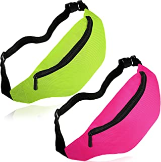 Aliceset 2 Pieces Neon Fanny Pack کیف های کمری قابل تنظیم کمربند سبک وزن ضد آب تمرین مسافرتی کیف های دویدن 80s لوازم جانبی لباس با بند قابل تنظیم (رز قرمز ، نارنجی) (سبز فلورسنت ، قرمز رز)