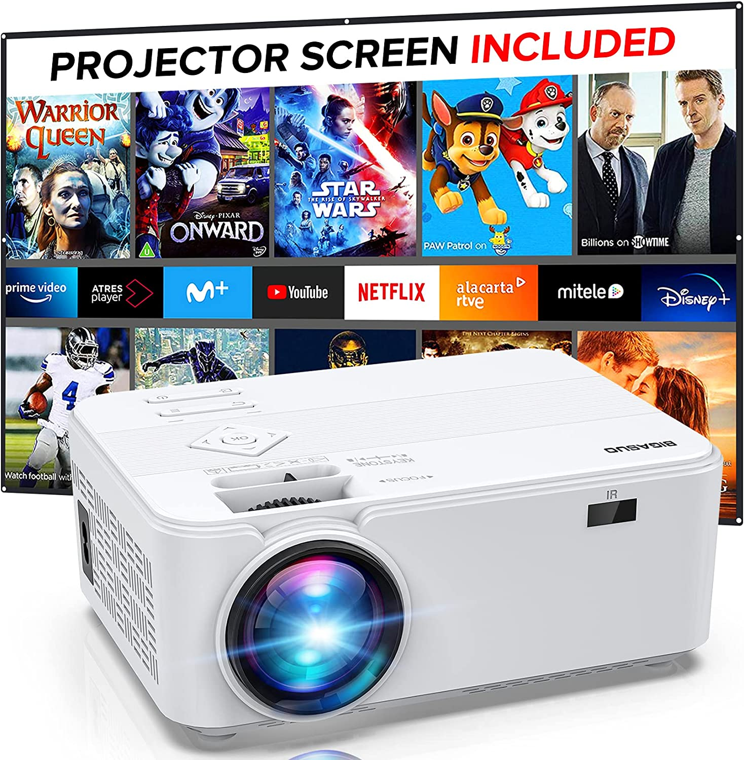Mini Video Projector 20P Support, Portable Projector for Home Theater,  BIGASUO Outdoor Movie Projector for Android/iOS/HDMI/USB/SD/VGA [Projector  ...