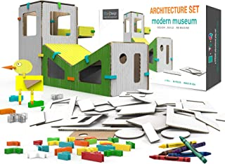 3DUX DESIGN Modern Museum Architecture Set. STEAM Toy for Early Education. Design, Build, Decorate with 86 Easy to Assemble and Reusable Pieces. Construction, Building and Open-Ended Play