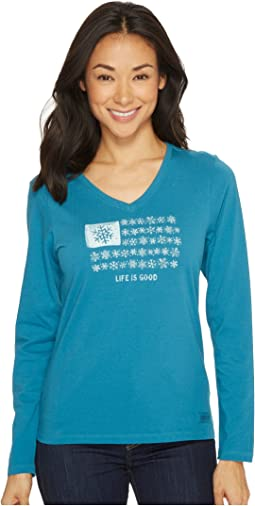 Snowflake Flag Long Sleeve Crusher Vee