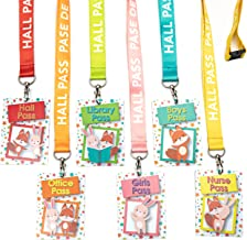 Hall Pass Lanyards for Teachers, Students and Classrooms, Colorful Bunny and Fox Designs Set of 6, English and Spanish