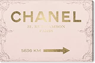 The Oliver Gal Artist Co. Fashion and Glam Wall Art Canvas Prints 'Couture Road Sign Rococo Gold Blush' Home Décor, 15 x 10, Pink