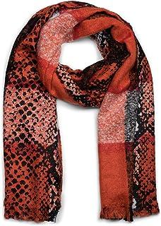 styleBREAKER suave chal de mujer con motivo de piel de serpiente, rayas y deshilachados alrededor, invierno, estola, pañue...