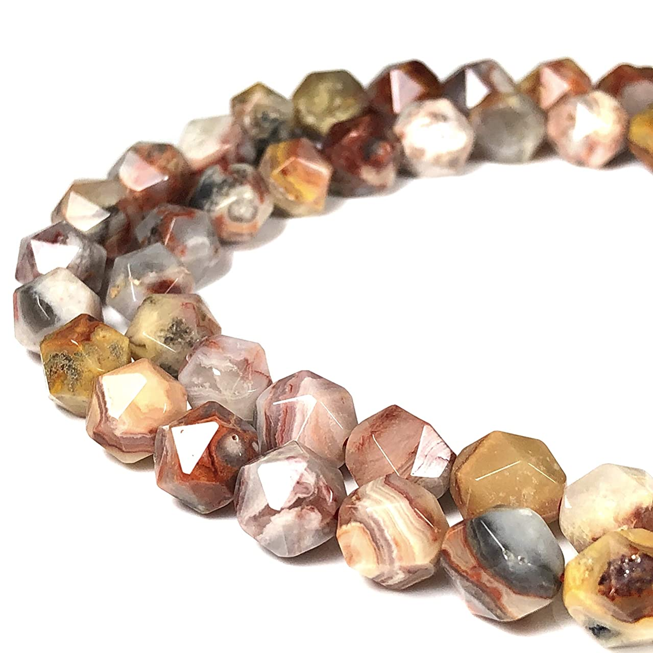 [ABCgems] Mexican Red Crazy Lace Agate 8mm Precision-Star-Cut Beads for Beading & Jewelry Making