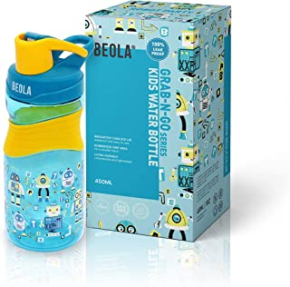BEOLA Kids Water Bottle 450ml BPA Free Tritan, Leak Proof Sport Fitness Bottle, 15oz