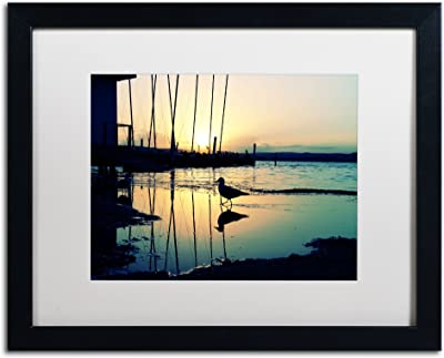 Lonely at Sunset Artwork Beata Czyzowska Young in White Matte and Black Frame, 16 by 20-Inch