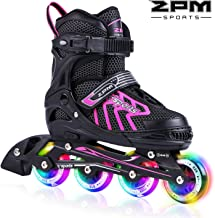 2PM SPORTS Vinal Girls Adjustable Inline Skates with Light up Wheels Beginner Skates Fun Illuminating Roller Skates for Kids Boys and Ladies
