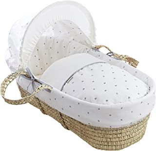 Clair de Lune Palm Moses Basket with Stand (Lullaby Hearts)